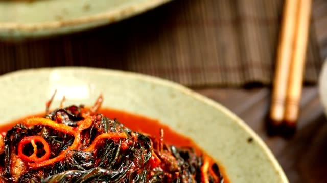 Gat (leaf mustard) kimchi (Popular traditional side dish in Korea) on a plate