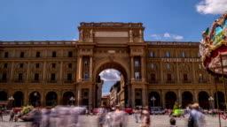 Gate at Square of Republic Piazza della Repubblica in Florence