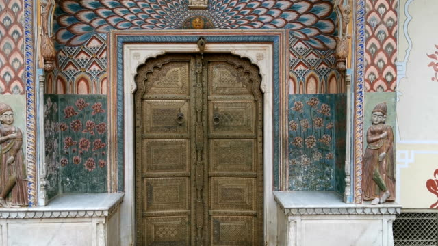 gate door in pink city at city palace of jaipur, india - rajasthan stock videos and b-roll footage