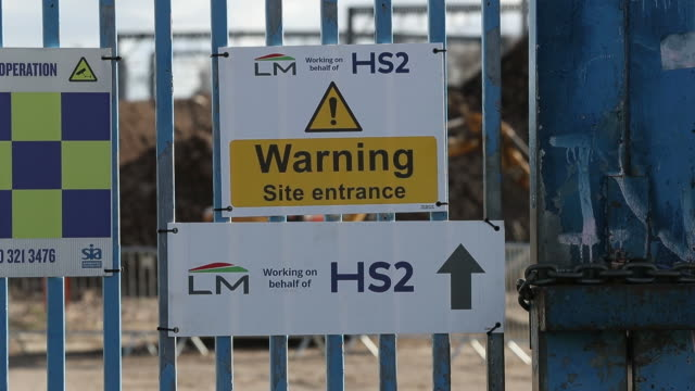 gate of construction site of curzon street hs2 station birminghamwest midlands uk on wednesday february 12 2020 - arrow symbol stock videos & royalty-free footage