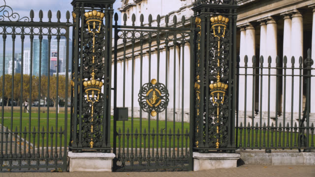 gated entrance to the old royal naval college in greenwich - royal navy college greenwich stock videos & royalty-free footage