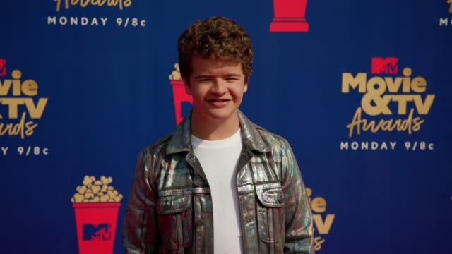 gaten matarazzo at the 2019 mtv movie tv awards at barkar hangar on june 15 2019 in santa monica california - mtv movie & tv awards stock videos & royalty-free footage