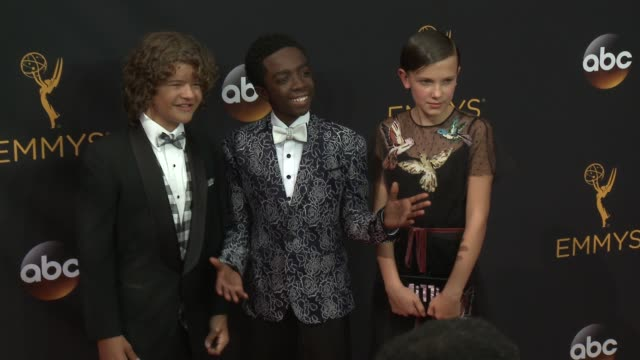 gaten matarazzo caleb mclaughlin millie bobby brown at 68th annual primetime emmy awards arrivals in los angeles ca - millie bobby brown stock videos & royalty-free footage