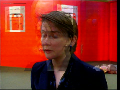 metro shopping centre la gv group of people watching defibrillator demonstration yvette cooper mp interview sot government has a strong committment... - defibrillator stock videos and b-roll footage