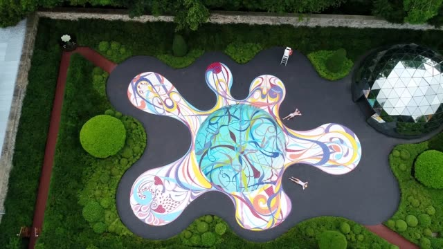 'gateway' an intricately designed swimming pool by portuguese artist joana vasconcelos is unveiled at the jupiter artland sculpture park at... - swimming pool stock videos & royalty-free footage