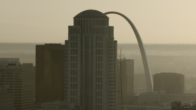 gateway arch and st louis high rises - missouri stock videos and b-roll footage