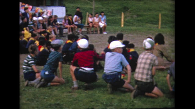 1964 gathering of campers - summer camp stock videos & royalty-free footage