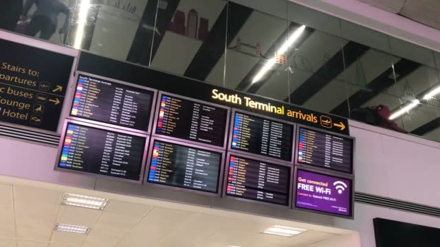 """gatwick airport have suspended their flights again due to a """"suspected drone sighting"""", an airport spokeswoman said. passengers at victoria tube... - gatwick airport stock videos & royalty-free footage"""