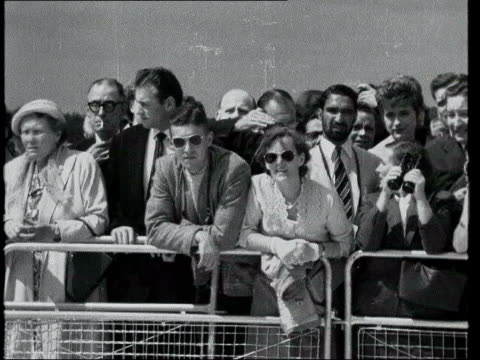 june in 1958 queen elizabeth ii opened gatwick airport lib plane taxiing at terminal carrying queen elizabeth ii / queen along with harold watkinson... - 1958 stock videos & royalty-free footage
