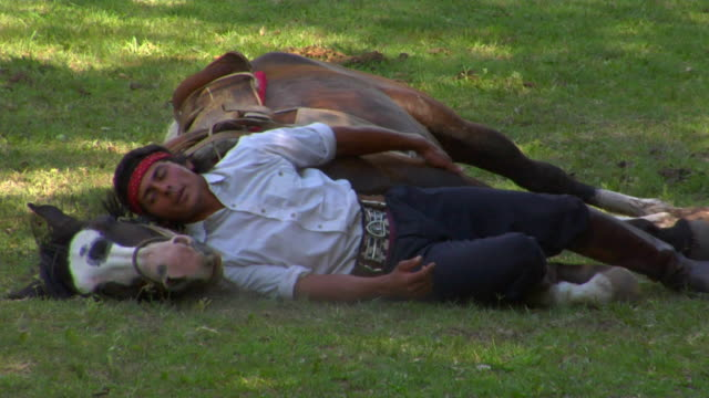 ms gaucho and horse resting on field, argentina - argentinian culture stock videos & royalty-free footage