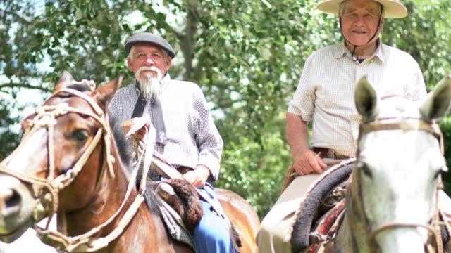 馬に乗るガウチョス - リオグランデドスル州点の映像素材/bロール