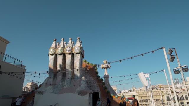 Gaudi Casa Batllo rooftop at Barcelona dolly shot