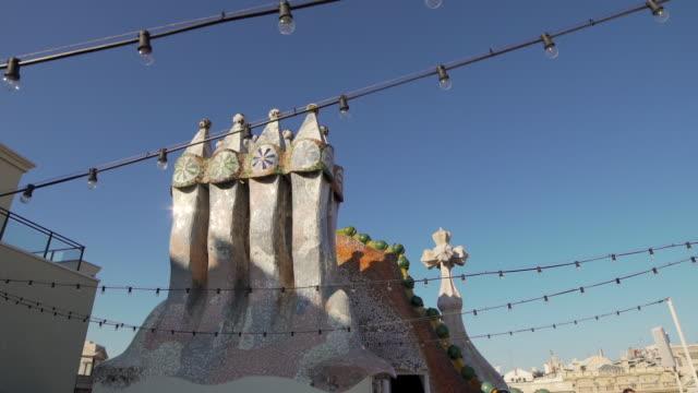Gaudi Casa Batllo rooftop chimney at Barcelona