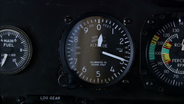 gauges operate inside a helicopter cockpit. - gauge stock videos & royalty-free footage