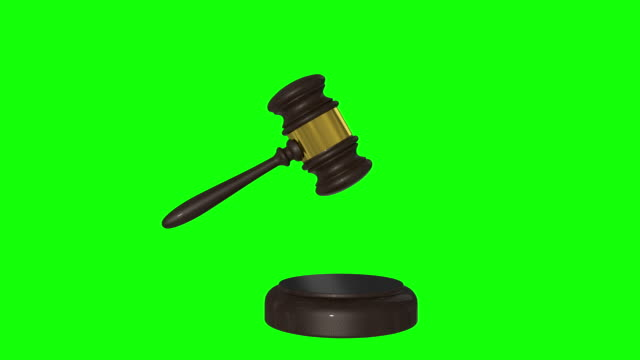 gavel, judge hammer, decision mallet 3d animation green screen and alpha - auction stock videos & royalty-free footage