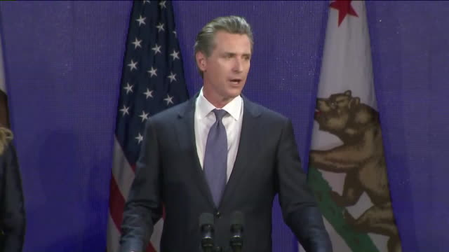 ktla gavin newsom's speech after winning election for california governor - 長点の映像素材/bロール
