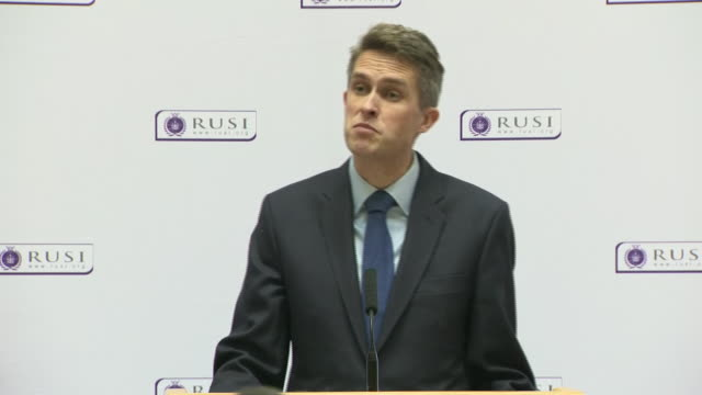 Gavin Williamson saying China 'is developing its modern military capability and its commercial power' during a speech in London