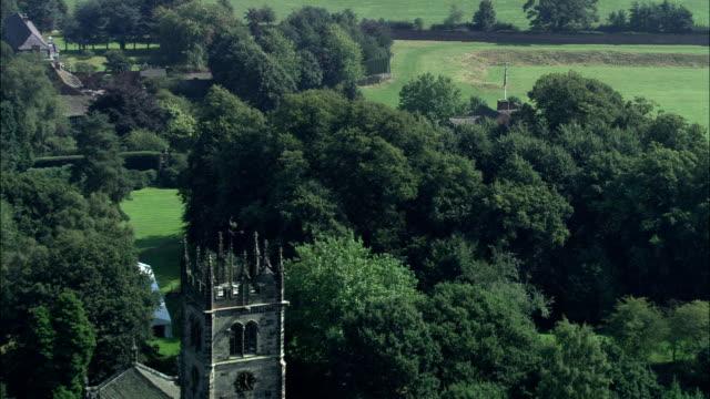 gawsworth old hall - aerial view - england, cheshire east, gawsworth, united kingdom - cheshire england stock videos & royalty-free footage