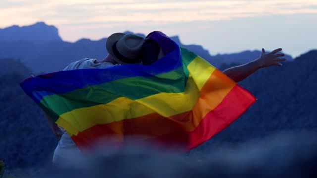 gay couple gently lovingly hugging with rainbow flag - stringere tenere video stock e b–roll