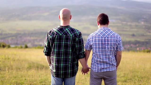 gay couple holding hands - holding hands stock videos & royalty-free footage