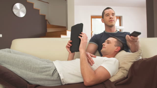 HD DOLLY: Gay Couple Spending Free Time On Sofa