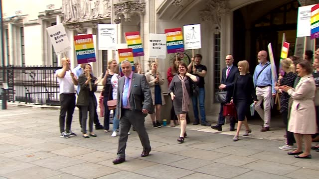 Gay couple win Supreme Court case for same pension rights as couples in a heterosexual marriage ENGLAND London EXT Supporters cheering asd John...