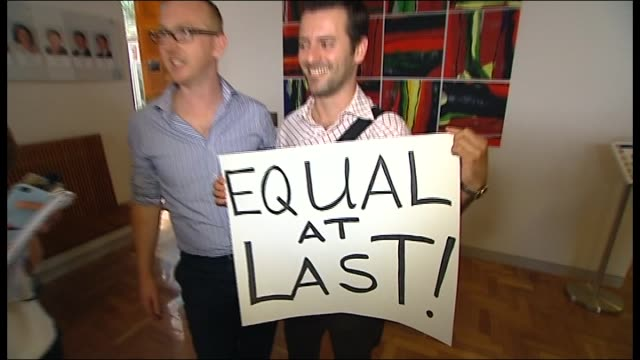 vídeos de stock, filmes e b-roll de gay couples can legally marry in australia from december celebrations erupted in the act parliament after it passed controversial new same sex... - tony hart