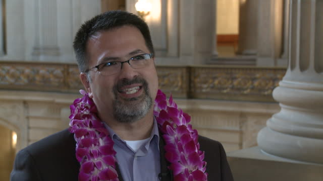 cu gay man talking about proposition 8 after getting married to his partner at san francisco city hall/ san francisco california/ audio - goatee stock videos & royalty-free footage