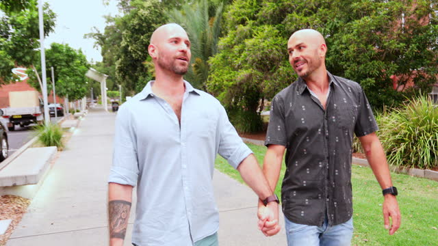 gay men walking in the evening on a first date together - 35 39 years stock videos & royalty-free footage