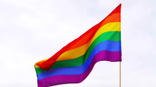 gay pride flag - rainbow flag stock videos and b-roll footage