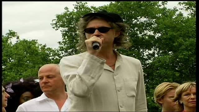 gay pride march in hyde park; england: london: sir bob geldof speech sot - i had a choice today between watching some fantastic music in the park or... - father stock videos & royalty-free footage