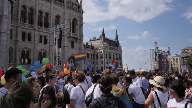 gay pride parade - time lapse video of lgbt and their supporters on rally - traditionally hungarian stock videos & royalty-free footage