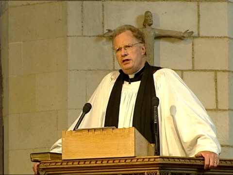 gay priest withdraws acceptance of bishop post; itn southward cathedral: congregation in church during service very reverend colin slee speech sot -... - anglican stock videos & royalty-free footage