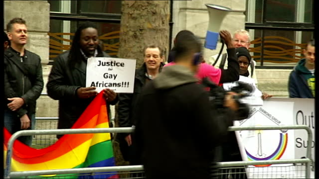 gay rights demonstration outside nigerian embassy general view protest more of gay rights protest outside nigerian embassy / flag outside nigerian... - nigerian flag stock videos & royalty-free footage