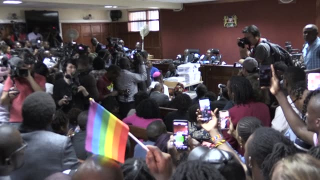 gay rights supporters react with dismay after kenya's high court refused to scrap laws criminalising homosexuality on friday in a blow to the gay... - homophobia stock videos and b-roll footage