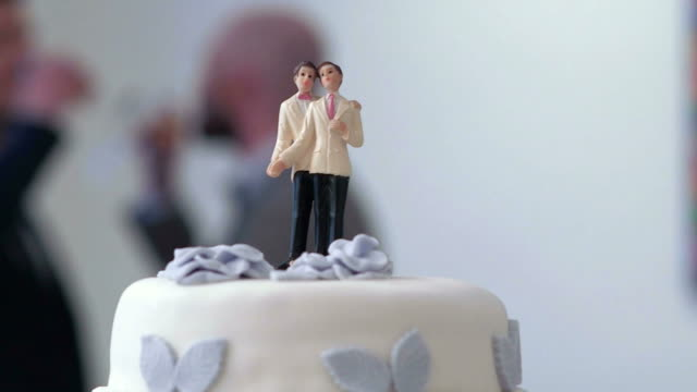 stockvideo's en b-roll-footage met gay wedding cake - bruiloft