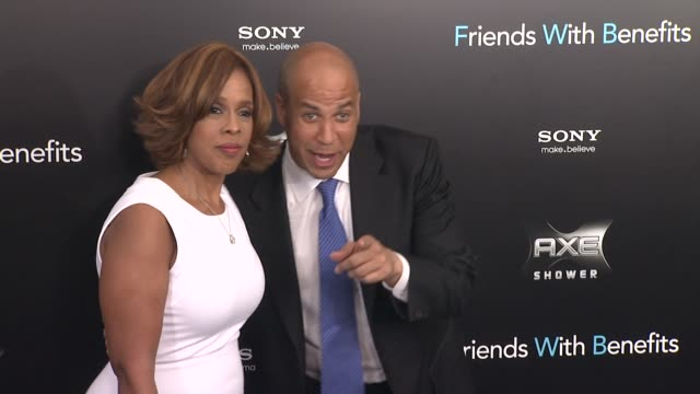 gayle king and cory booker at the 'friends with benefits' new york premiere arrivals at new york ny - gayle king stock videos & royalty-free footage