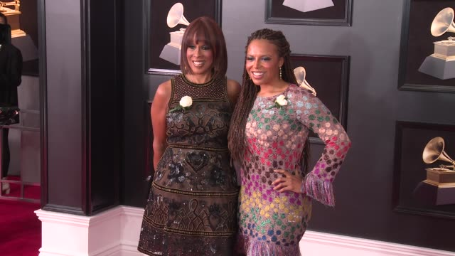 gayle king and kirby bumpus at 60th grammy awards celebration party at madison square garden on january 28 2018 in new york city - gayle king stock videos & royalty-free footage