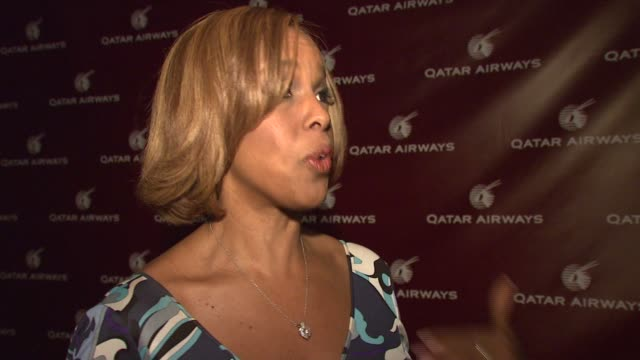 gayle king on attending the event at the qatar airways hosts gala event to celebrate inaugural flights to nyc at frederick p rose hall home of jazz... - gayle king stock videos & royalty-free footage