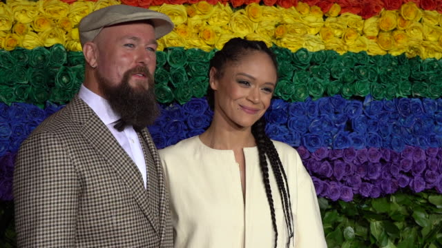 gaylen hamilton and amber gray at the 73rd annual tony awards - arrivals at radio city music hall on june 09, 2019 in new york city. - annual tony awards stock videos & royalty-free footage