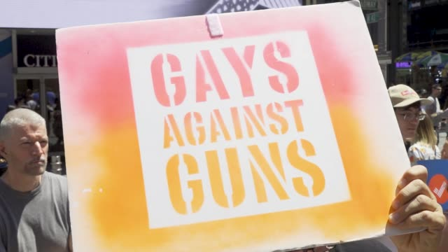 gays against guns rally in midtown manhattan for tighter gun control laws in light of the recent mass shootings in brownsville, dayton, el paso, and... - gun control stock videos & royalty-free footage