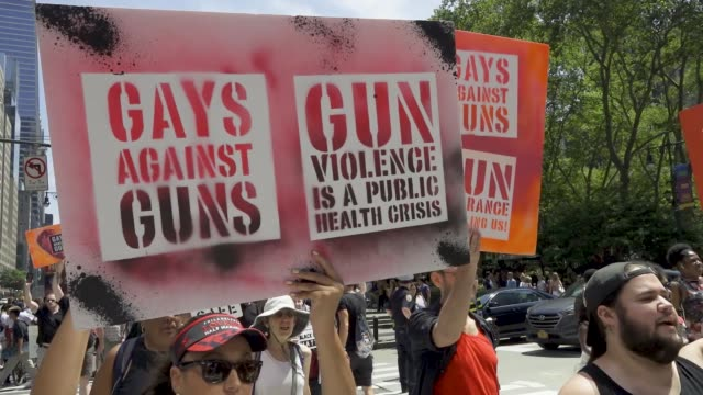 gays against guns rally in midtown manhattan for tighter gun control laws in light of the recent mass shootings in brownsville, dayton, el paso, and... - gun violence protest stock videos & royalty-free footage