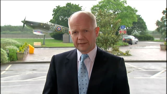 un demands inquiry / international condemnation england west london hillingdon raf northolt ext william hague mp interview sot this whole business... - durability stock videos & royalty-free footage