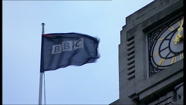 gaza appeal screened by broadcasters except bbc and sky news; england: london: ext general view of bbc broadcasting house in portland place and bbc... - report produced segment stock videos & royalty-free footage