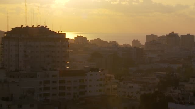 gaza city at sunset, zoom out - gaza city stock videos & royalty-free footage