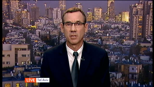 fragile truce continues as barack obama calls for immediate ceasefire england london gir int mark regev live interview from tel aviv sot - ジャッキー ロング点の映像素材/bロール