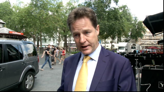 Nick Clegg interview ENGLAND London EXT Nick Clegg MP departing building and interview SOT On arms licenses issued to Israel / if the current truce...