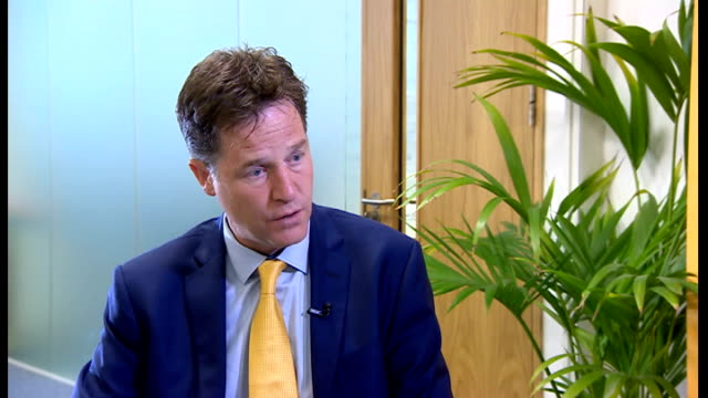 nick clegg interview; england: london: int nick clegg mp interview sot - on tougher restrictions on exports to israel / export licenses / if i was... - soap opera stock videos & royalty-free footage
