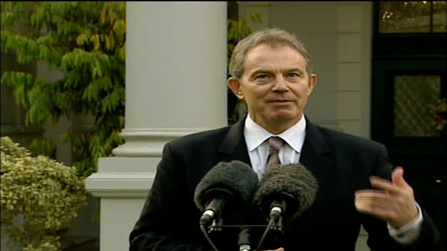 Gaza violence / Tony Blair Middle East visit EGYPT Cairo EXT Tony Blair MP press conference SOT I think the most important thing right now because I...
