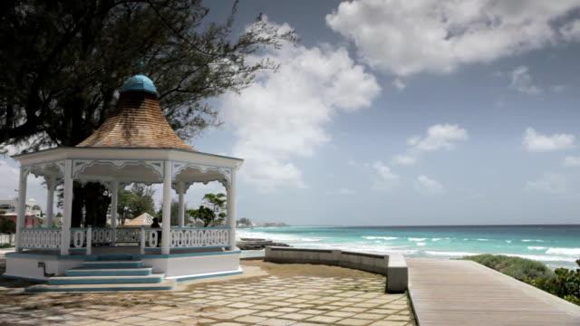 ws gazebo and boardwalk / rockley, christ church, barbados - gazebo stock videos & royalty-free footage